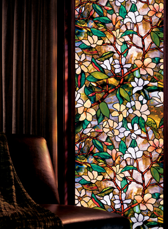 Magnolia stained glass decorative window film for Film plastique fenetre